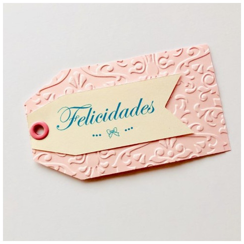 Etiquetas fondo rosa - Felicidades