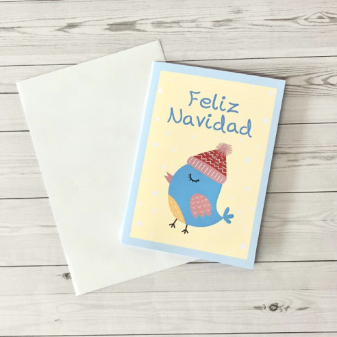 Tarjeta Feliz Navidad Pajarito- Azul