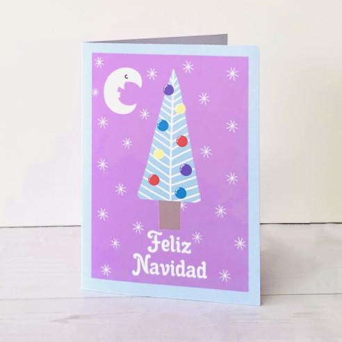 Tarjeta Feliz Navidad arbol