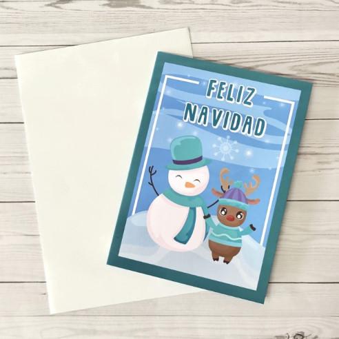 Tarjeta Feliz Navidad Muñeco de nieve...
