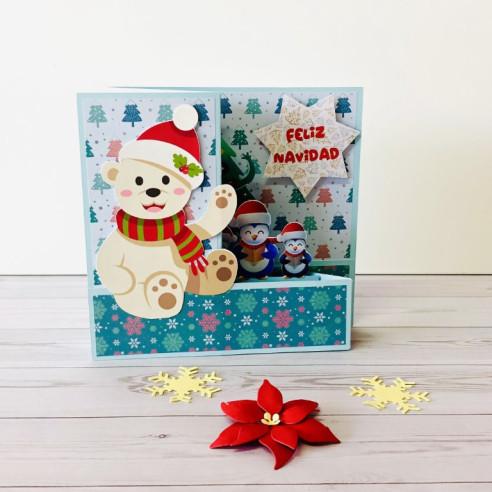 Tarjeta Feliz Navidad Osito y pingüinos