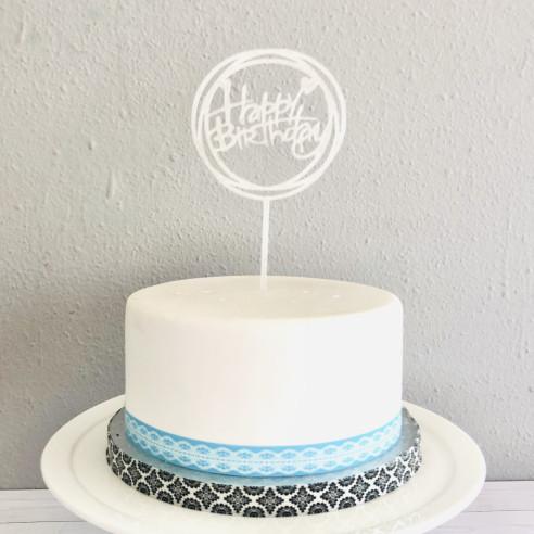 """Topper """"Happy birthday"""" blanco"""