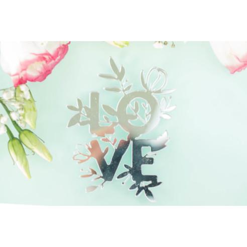 """FRASE metacrilato """"Love"""" PLATA"""